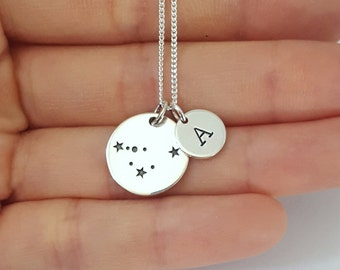 Sterling Silver Capricorn Necklace, Personalized Jewelry, Initial Zodiac Necklace, Constellation Necklace, Mother's Gift, Birthday Gift