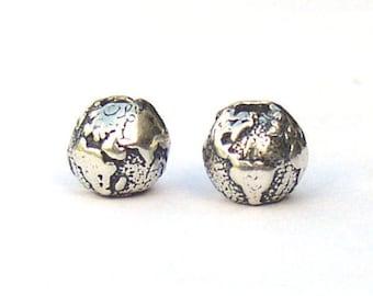 World Globe Sterling Silver Bead 6mm