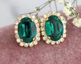 Emerald Earrings, Emerald Swarovski Earrings, Emerlad Studs, Bridesmaids Emerald Earrings, Bridal Emerald Earrings, Christmas Gift For Her