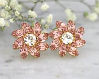 Blush Earrings, Blush Cluster Earrings, Bridal Blush Earrings, Swarovski Blush Earrings, Bridesmaids Earrings, Dusty Pink Bridal Earrings.