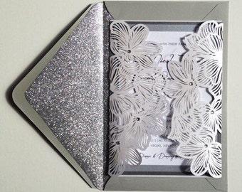Floral Laser Cut Wedding Invitation