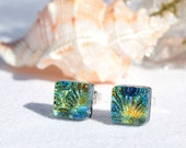 "Small Dichroic Glass Stud Earrings, Fused Glass Jewelry, Sterling Silver, Square - Gold, Blue, Orange, Green  <3/8"" or 9mm (Item #30940-E)"