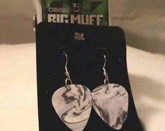Grey Swirl Guitar Pick Earrings