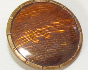 Antique Metal Button Silk Fabric under Celluloid Liner