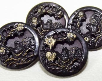 Antique Metal Buttons 4 tinted metal Scottish Wee Hoose 'Mang the Heather