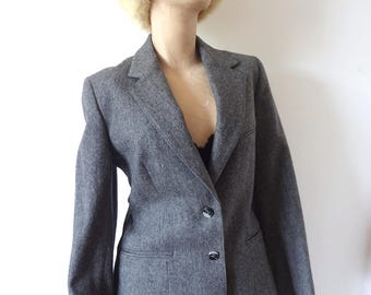 1970s Wool Blazer - charcoal grey suit coat - vintage preppy jacket