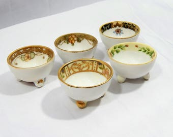 Early 1900s Nippon, 5 Piece Set ,Footed, Open Salt Dips ,Salt Cellars ,Nippon, Japan ,Fine China, Handpainted