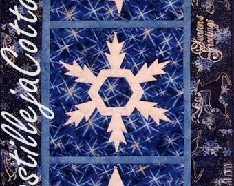 Snowflake Quilted Table Runner, 4078-7, winter wall quilt, snowflake wall quilt