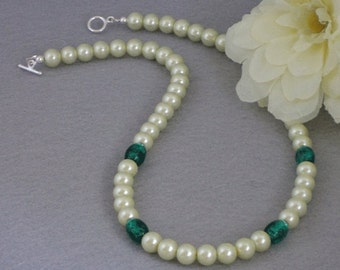 Lime Green Glass Pearl Necklace With Lampwork Beads   FREE SHIPPING