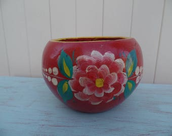 Vintage hand painted Flower Pot Planter Shabby Chic Cottage Garden