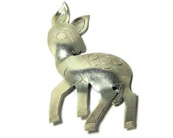 Artisan Crafted Sterling Silver Deer Fawn Pin