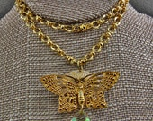 Handmade Brass RGP Butterfly On A Flower Original Necklace Triangle Crystal Green Yellow Flash 22 inch Necklace Magnetic catch