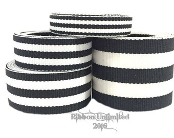 10 Yds WHOLESALE Black TAFFY Stripes grosgrain ribbon LOW Shipping Cost