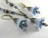 Denim Blues Lucite Lily Flower Necklace and Earring Set on Brass
