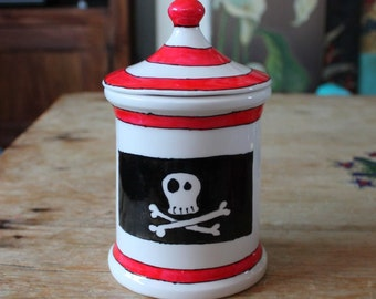 Pirate booty Jar Treat jar fun kitchen storage tea caddy goth skull