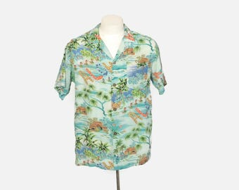 Vintage 60s HAWAIIAN SHIRT / 1960s Men's ALOHA Spelled Out in Leis Hula Girls Crepe Shirt
