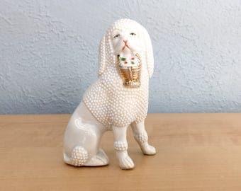Vintage Porcelain Poodle Dog Figurine, White Poodle Dog, Excellent Condition, Made in Germany Ceramics