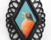Singing Robin art - American robin painting - spring bird artwork decor - robin redbreast framed wall hanging - wildlife nature art realism