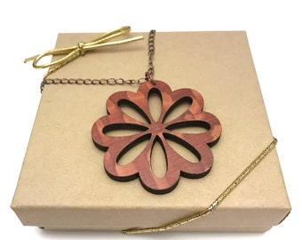 Lacewood Flower Necklace, Laser Cut Necklace, Antique Copper Chain