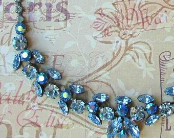 Vintage Necklace By Regency ... Pale Blue Rhinestone