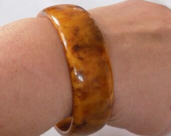 Vintage bracelet, wide bracelet, butterscotch bakelite, bakelite bangle, 7 & 1/2 inch bracelet,tested bakelite
