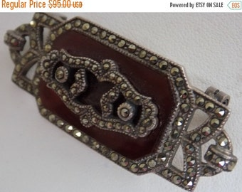 """ON SALE Antique brooch, signed """"CIRO"""" sterling silver 925 marcasite and carnelian Art Deco brooch, collectible jewelry"""