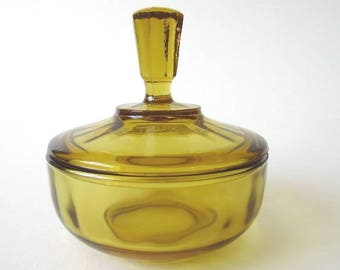 Optic Panel Amber Glass Vanity Powder Jar, Vintage Dresser Trinket Box