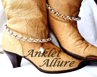 Elegant Pearl Boot Chains Silver Boot Jewelry Western Boot Bracelets Pearl Foot Jewerly