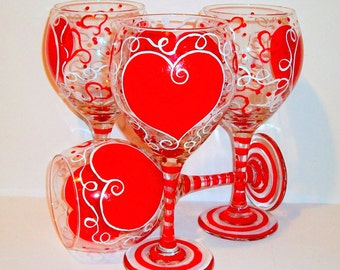 Bridesmaid Gift Wedding Gift Bachelorette Party Made of Honor Valentine's Day Red Hearts Hand Painted Wine Glasses Set of 4- 20 oz.