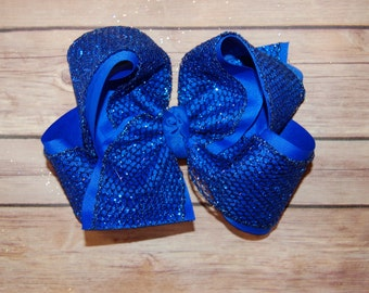 SSD ROYAL BLUE Glitter Mesh Boutique Hairbow