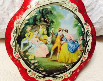 Vintage Romantic Tin Box Red Flowers Victorian Valentine Candy Box