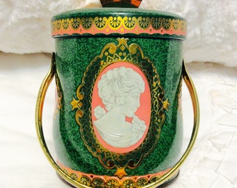 Vintage Murray Allen Toffee Tin Container with Cameo Handle and Knob Lid Green Peach Gold