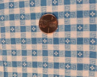 VintageFeedsack 1950s Feedsack Fabric Vintage Quilting Fabric Blue and White Check