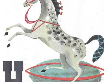 Vintage Mid Century Original Illustration - Circus Alphabet - Patric Hudson