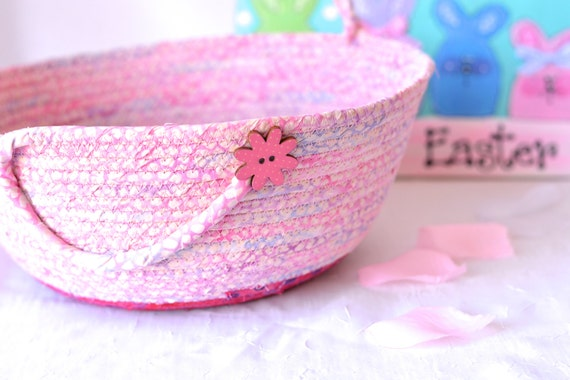 Girl Doll Basket, Handmade Pink Batik Basket, Gorgeous Fiber Pottery Basket, Baby Girl Basket, Hot Pink Easter Basket