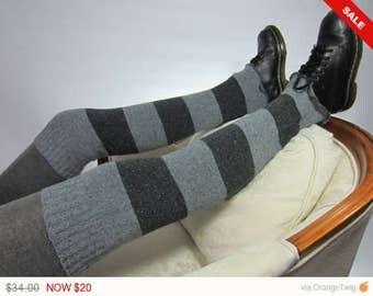 Sale -  Women's Leg Warmers Striped Boot Socks Thigh Highs Over the knee Leg warmers Boot Sock Charcoal Gray Stripe