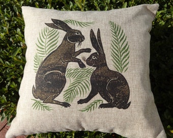 Pillow FREE SHIPPING Vintage Pillow RABBIT Pillow Cover   Bunnies Pillow  Botanical Pillow