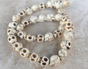 Skull beads, Day of the Dead Skull Beads, 16 inch strand, 10x8mm