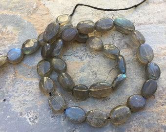 Labradorite Oval Beads, Blue Flash, labradorite Ovals, 10 to 12mm, 13 inch strand
