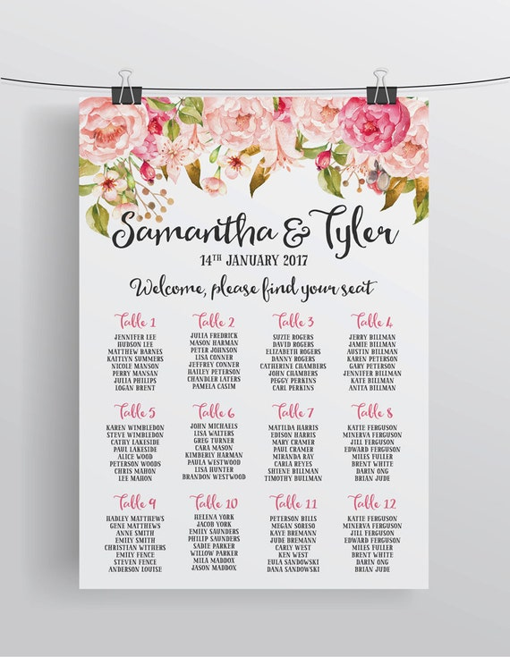 Personalized Wedding Seating Chart Table, Wedding Seating, Wedding ...