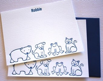 Personalized Children Letterpress Stationery Bear Friends Baby Cards