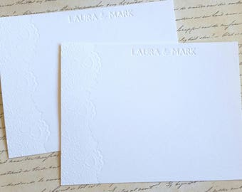 Lace Flower Personalized Letterpress Stationery
