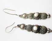 Vintage Bali Sterling Silver and Pearl Earrings for Pierced Ears