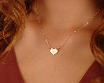 Medium Heart Necklace, 14k gold filled, Sterling Silver, Rose Gold Filled, Personalized Monogram necklace, Layering Jewelry