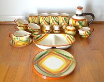 Mid Century Vernonware Homespun ceramic dinnerware set