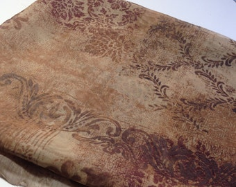 Printed Chiffon Fabric, 1 yd Sheer Fabric, Sewing Supplies, Mystery Fabric, Gold and Brown Chiffon Printed Material