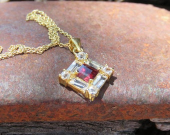 """Vintage Ruby Crystal & Clear Rhinestone Pendant, 925 9"""" Chain Made In Italy, Costume Jewelry"""