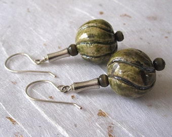 Raku earrings dangle earrings green earrings