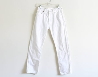"""Vintage Levis 501 / White Jeans / Made in the USA / 30"""" waist"""