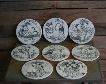 Set of Eight Small Black and White Vintage Ceramic Pictures by Bjorn Wiinblad- Gallery Wall